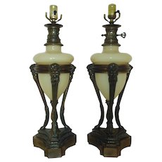 Pair Vintage French Table Lamps Mythological Figures Clam Broth Glass & Bronzed Metal