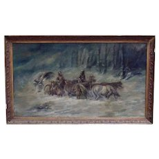 Antique German Painting of Men with Horses in Winter Oil on Canvas Signed F. Wentz