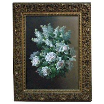 Original 19th c. French Victorian LILACS & ROSES Watercolor Painting Signed Raoul Maucherat de Longpre Antique Still Life Flowers Floral Bouquet