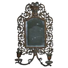 Antique Victorian Bronze Mirror Candle Wall Sconce Gothic