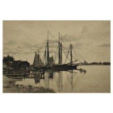 Antique C H Harris Signed Sailing Ships Lithograph Print Framed c. 1900 Maritime Nautical