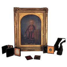19th c. Victorian Portrait Oil Painting of Boy Child w/ Daguerreotypes and Boots c. 1860 Antique Postmortem