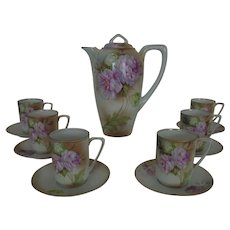 Antique R. S. Germany HP Porcelain Chocolate Set Pot w/ 6 Cups & Saucers Floral Flowers