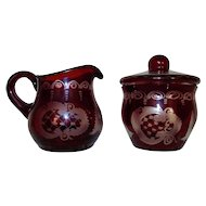Vintage Bohemian Ruby Glass Sugar Bowl & Creamer Etched Birds Castles