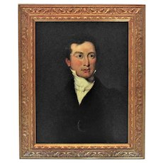 Early 19th c. Gentleman Portrait Painting Oil on Board American School Man Antique