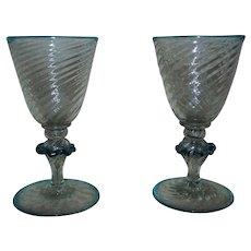 Pair of Italian Glass Aperitif Cordial Shot Glasses Murano Venetian Italy Mid Century Modern
