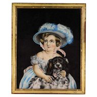 19th c. Victorian Pastel Portrait of Little Girl w/ Cavalier King Charles Spaniel Dog American School in Original Antique Wood & Gesso Picture Frame Painting