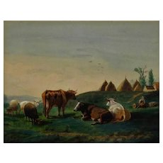 Pastoral Landscape Watercolor Painting with Cows & Sheep Signed Charles Franklin Pierce Listed Artist