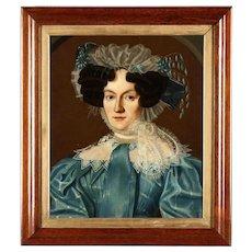 19th c. Portrait Painting of a Woman Lady Oil on Canvas English School Antique Georgian Era c. 1830