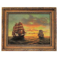 Vintage Impressionist Painting of Clipper Ships at Sunset Oil on Canvas Signed Eliot Candee Clark - Listed Artist - Nautical
