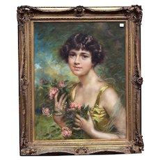 19th c. Portrait Pastel Painting Woman Lady & Roses Signed Arnaldo Casella Tamburini Jr. Antique Victorian