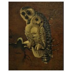 Vintage Owl Portrait Painting Oil on Canvas Mother & Baby Birds