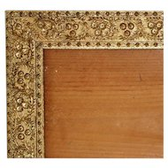 "19th c. Picture Frame Victorian Gilt Wood & Gesso Antique 8 1/4"" x 17 3/4"""