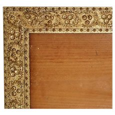 "19th c. Picture Frame Victorian Gilt Wood & Gesso Antique 8 1/4"" x 17 3/4"""