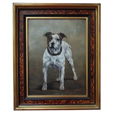 Vintage Dog Portrait Painting Jack Russell Terrier Oil on Canvas signed