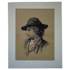 19th c. Charcoal Portrait Drawing of a Boy Child Antique