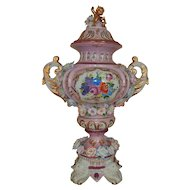 HUGE Antique Richard Klemm Pink Porcelain Urn / Vase with Cherub Putti Lid Dresden German Germany Flowers
