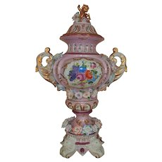 HUGE Antique Richard Klemm Pink Porcelain Urn / Vase with Cherub Putti Lid Dresden German Germany Flowers