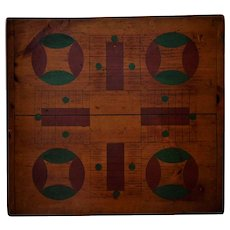 Antique 19th c. Parcheesi Game Board Folk Art Table Top