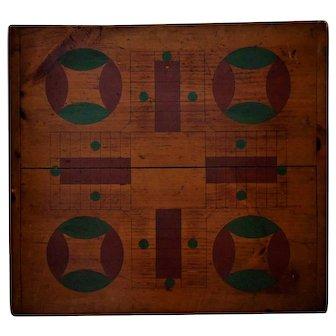 Antique 19th c. Parcheesi Game Board Folk Art Table Top