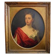 17th / 18th c. Portrait Painting of an Artistocratic Lady Woman Listed Artist Sir Godfrey Kneller Antique Oil on Canvas British School