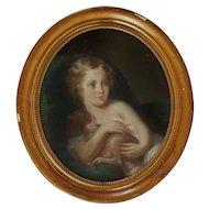19th c. Pastel Portrait Girl Child & Dog Style of Jean Baptiste Greuze Antique Gilt Wood Gesso Frame Painting