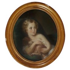 19th c. Pastel Portrait Girl Child & Dog Style of Jean Baptiste Greuze Antique Gilt Wood Gesso Frame Painting