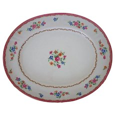 Large Crown Staffordshire Pattern F16165 Serving Platter Pink & White Floral Flowers English