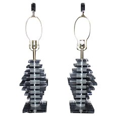 Pair Stacked Lucite Lamps Karl Springer Style Mid Century Modern Retro Atomic Age Vintage