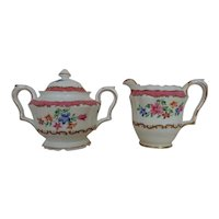 Crown Staffordshire Sugar Bowl & Creamer F16165 Pink and White Flowers Floral English