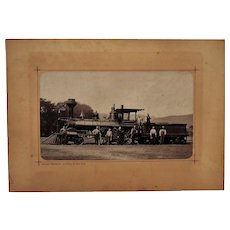 Antique Photograph Cabinet Card Locomotive Train Railroad