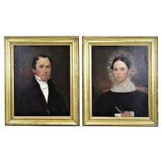 Pair 19th c. Portrait Paintings Oil on Canvas Husband Wife Family Antique Lady Woman Gentleman Man