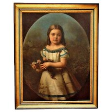 19th c. Portrait Painting Girl Young Lady Child Family Oil on Canvas Antique Victorian Roses