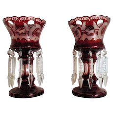 Pair Antique Bohemian Mantle Lusters Ruby Red Glass Deer Birds Castles Lustres Candle Holders