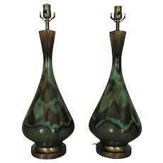 Pair of Modern Table Lamps Green Drip Glaze Mid Century Ceramic Retro Atomic Vintage Eames Era