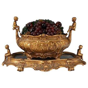 Art Deco Czech Fruit Basket Lamp w/ Mirrored Plateau Tray Base Grapes Cherubs Putti Children Czechoslovakian