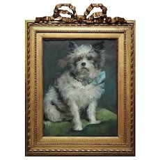 CUTEST 19th c. Pastel Dog Portrait Wire Haired Terrier Puppy Antique Painting in Victorian Frame Signed