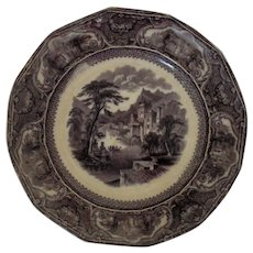 19th c. Flow Mulberry Serving Plate W. Walker Tavoy Ironstone Castle