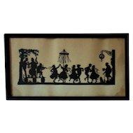 Antique 19th c. German Paper Cut-Out Silhouette of a Party Celebration Folk Art