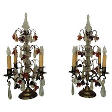 Pair of French Glass & Brass Candelabra Lamps Girandoles w/ Grapes Fruit Antique