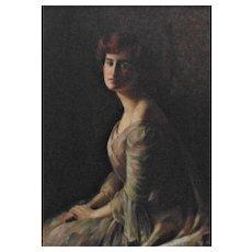Antique Portrait Painting Lady Woman Oil on Canvas