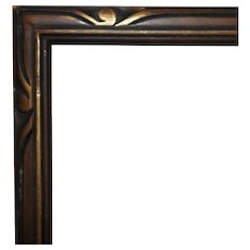 """Art Deco Carved Wood Picture Frame 20"""" x 11"""" Opening for Painting Print or Photograph"""