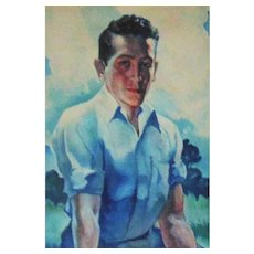 1 of 2 Vintage Watercolor Portrait Painting Boy Young Man Mid Century Modern Signed E. V. Tris '44 Illustration