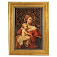 Madonna & Child Portrait Painting Oil on Board Virgin Mary with Baby Jesus Religious Signed