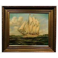 Painting of a Sailing Ship Nautical Seascape Oil on Canvas Signed Martz