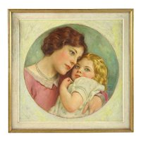 Antique Portrait Painting Mother & Child Daughter Oil on Board Signed Charles Allan Winter