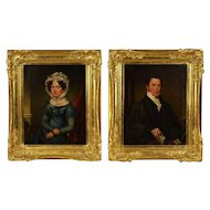 Pair 18th c. Portrait Paintings Husband & Wife Oil on Canvas Woman Lady Man Gentleman