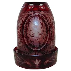 Egermann Bohemian Ruby Glass Fairy Lamp Etched Flowers Floral Czech Czechoslovakia