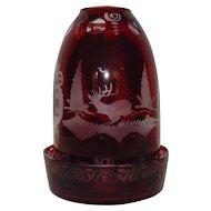 Egermann Bohemian Ruby Glass Fairy Lamp Etched Deer Buck & Castle Czech Czechoslovakia