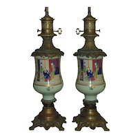 Pair 19th c. Chinese Export Celadon Famille Verte Lamps Antique Asian Porcelain & Bronze